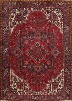 One-Of-A-Kind Vintage Geometric Heriz Oriental Red Area Rug Wool 9'x12'