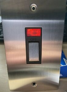 Volex 45A Double Pole 2 Gang Vertical switch in Stainless Steel