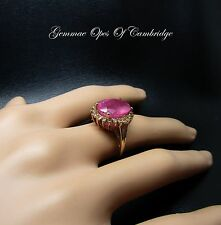 9ct Gold Oval cut Pink Sapphire and Morganite Ring Size O 4.5g 8.4tcw