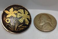"Damascene Brooch Pin Toledo Womens Girl Floral 1"" Etched Design"