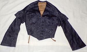 ANTIQUE VICTORIAN 1860 CIVIL WAR 1870 NAVY SILK SATIN MOIRE GOWN DRESS BODICE S