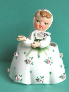 Vintage 1956 NAPCO Porcelain Girl Planter in White Dress with Pink Roses C2267A