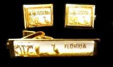 Florida Flamingo Tie Bar Cuff Link Set 1970's Men's Vintage Retro Gold Plated