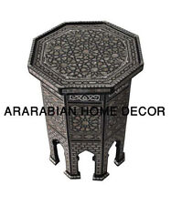"Egyptian Moroccan 20"" Height Mother of Pearl Inlay Wood Coffee Side End Table"