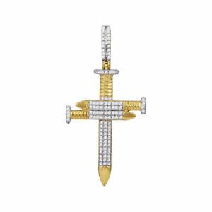 10kt Gelbgold Herren Rund Diamant 3 Nagel Kreuz Anhänger 3/4 Cttw