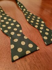 Vtg 60's Brooks Brothers All Silk Bow Tie Green & Gold Polka Dots Adjustable
