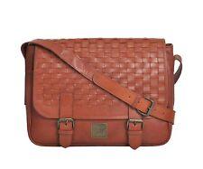Canvas & Awl Genuine Washed Leather Unisex Messenger Bag for Men (Brown)