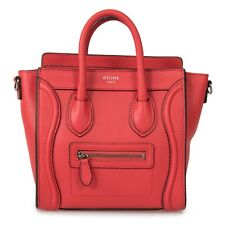 CÉLINE Nano Luggage Red Baby Grained Calfskin Leather Shoulder Bag