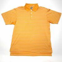 Adidas Golf ClimaCool Orange Striped Short Sleeve Polo Shirt Men's Size Medium M