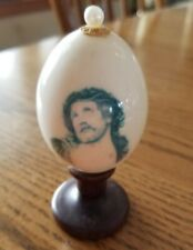"""Vintage Painted Egg with Jesus""""s Image on Wood Stand Artist Initialed Rjd"""