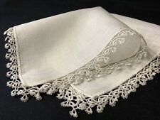 #6385🌟Vintage 40s Fancy Tatted Lace Irish Linen Wedding Heirloom Handkerchief