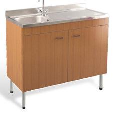 Mobile cucina economico marrone con lavello acciaio inox 100x50 appoggio destro