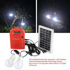 DC Solar Lighting Panel Charging Generator 2Ah /12V 2 LED Bulbs Portable Outdoor