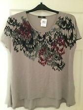 M&S Afro Graphic Khaki Mix Cotton T-Shirt BNWT Size 18