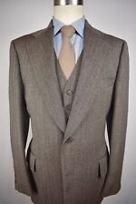 1970's Michaels/Stern Brown Herringbone 100% Wool Two Button 3 Pc Suit Size: 40L