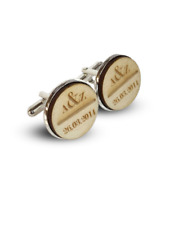 Personalised Wooden Circle Cufflinks initial and dates memory