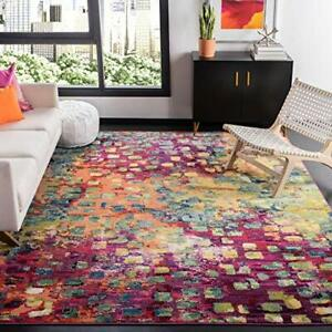 Safavieh Madison Collection MAD425D Boho Abstract Distressed Non-Shedding Sta...