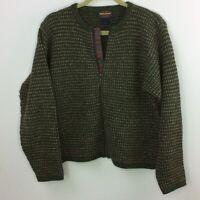 Woolrich Cardigan Sweater Green Tan Full Zip 100% Wool Size Med Vtg Placket