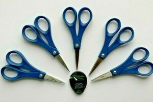 "Lot of 5 MADE IN THE USA Home Accents 5"" Detail Scissors + Fiskars Sharpener NEW"