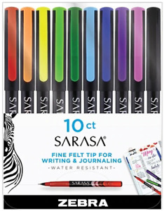 Zebra Pen Sarasa Fine Felt Tip For Writing, Needle Point 0.8mm, Assorted 10-Ct