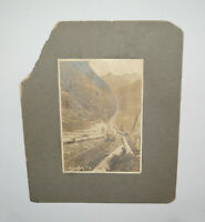 Old Antique Vtg 1800s Mounted Cabinet Photo Hanging Rock # 3 Rail Road Workers