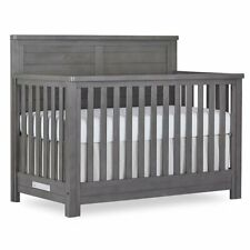 Evolur Belmar 5 in 1 Flat Top Convertible Crib in Rustic Gray