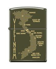 Zippo 0585, Map of Vietnam,  Green Matte Finish Lighter,  Full Size