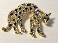 Cat Rhinestone Gold Plated Black Crystal Clear Crystal Green Eyes Pin Brooch