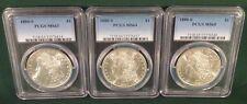 Lot of 3 1880-S Morgan Silver Dollars MS-63, 64 & 65 PCGS