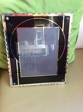 Vintage antique glass Reverse Painted Art Deco picture frame black silver