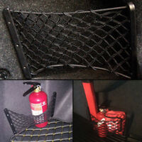 1pc Black Storage Mesh Rear Trunk Side Cargo Net For Fire Extinguisher Luggage