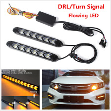 2x Car DRL White/Amber Switchback Flowing LED Headlight Flasher DRL Turn Signals