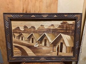 Vintage Framed African Village Wooden Pieces Art Signed Kakas Zaire Picture