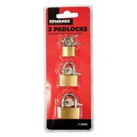 3 PACK BRASS PADLOCKS WITH 2 KEYS ~ SECURITY LOCK GATE DOOR SUITCASE - BRAND NEW