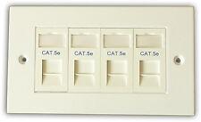 5x CAT 5E 4 Way Rete d'informazione OUTLET, FACEPLATE, moduli: LAN Ethernet per montaggio a parete