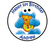 Cookie Monster Baby party cake topper edible cake image