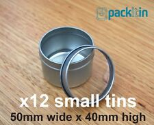 x12 CLEAR LID TINS size 1 - 50mm wide x 40mm high - for wedding bomboniere