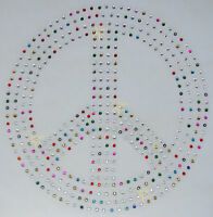 HUGE PEACE SIGN MX iron-on CRYSTAL BEAD TSHIRT TRANSFER