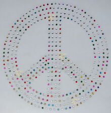 HUGE PEACE SIGN mix col iron-on rhinestone CRYSTAL BEAD TSHIRT TRANSFER applique
