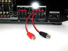 """2 Channel Speaker Wire To RCA Adapter - Amp Receiver Powered Speakers 4"""" FEMALE"""