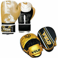 VELO Boxing Pads and Gloves Set Curved Hook Jab Mitts Punch Bag Training 10oz