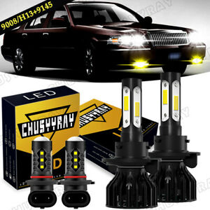 For Mercury Grand Marquis 2006-2011 -6000K LED Headlight +3000K Fog Light Bulbs