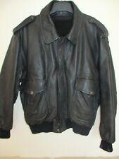 Blouson aviateur en cuir noir doublure vintage Flying jacket taille XL