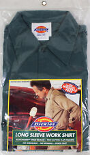 NEW VTG 90s DICKIES Long Sleeve WORK SHIRT 14-14.5 Small Forest Green USA Made !