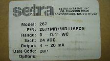 Setra Model 267 Differential Pressure Transducer 2671mr1wd11apcn New