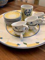 CALECA ITALIAN 14 Piece Set Pottery Coffee Cup Mug Saucer 16 in Serving Platter