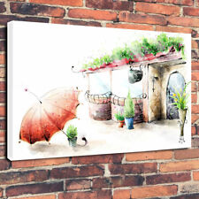 """Vintage Coffee & Flower Shop Drawing Printed Canvas Picture A1.30""""x20""""30mm Deep"""