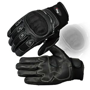 MENS KNUCKLE PROTECTIVE VENTED SUMMER SHORT MOTORBIKE /MOTORCYCLE LEATHER GLOVES