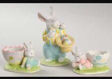Princess House 3 Piece Ceramic Porcelain Bunny Rabbit Figure Easter Set Box 388
