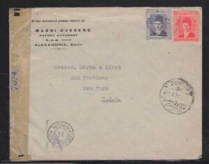 EGYPT 1940s TWO COVERS ALEXANDRIA TO NEW YORK USA W/ONE DOUBLE CENSORED